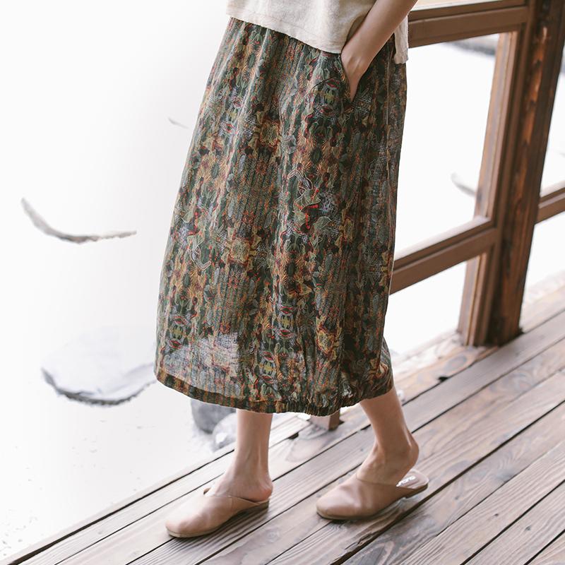 夏中长款复古显瘦棉麻碎花裙子