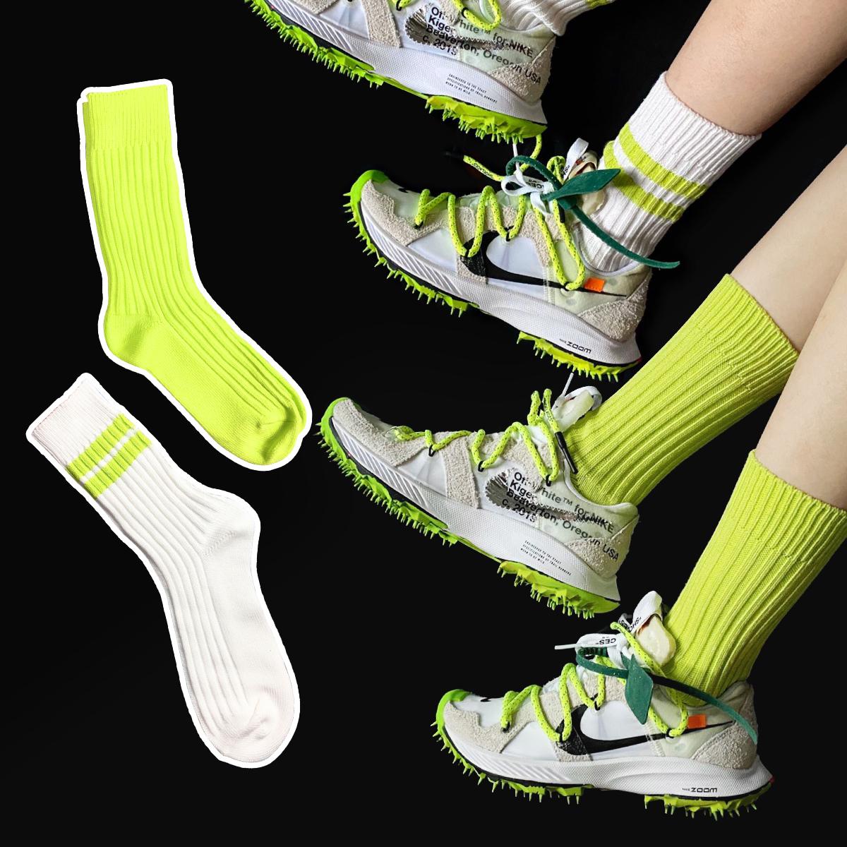 余文乐同款纯色荧光绿色袜子女ins潮运动中筒袜长袜厚复古男女袜