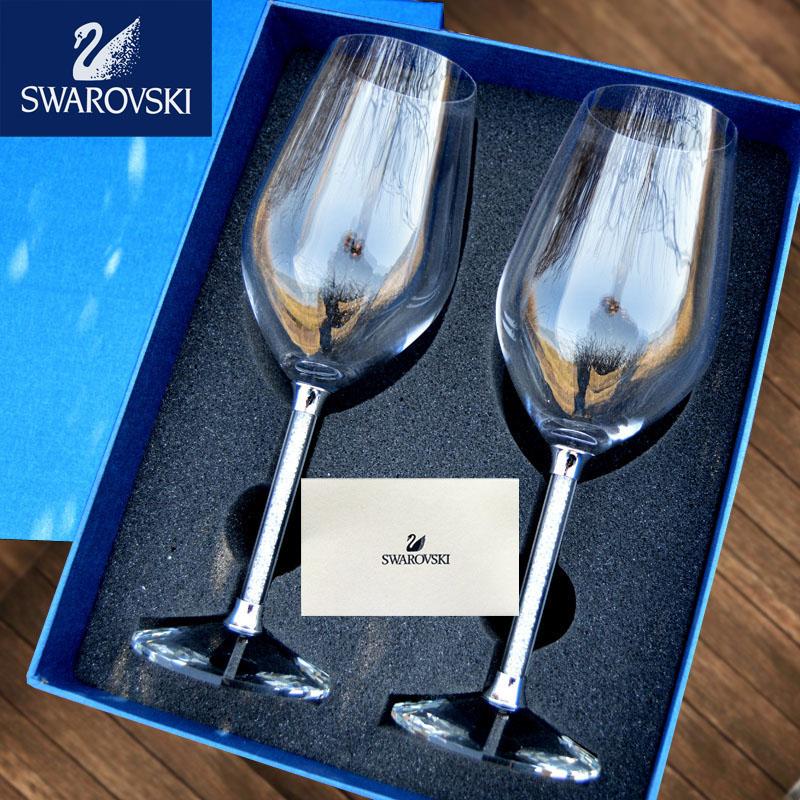 施华洛世奇水晶钻石红酒杯套装家用葡萄酒香槟高脚杯刻字结婚礼物