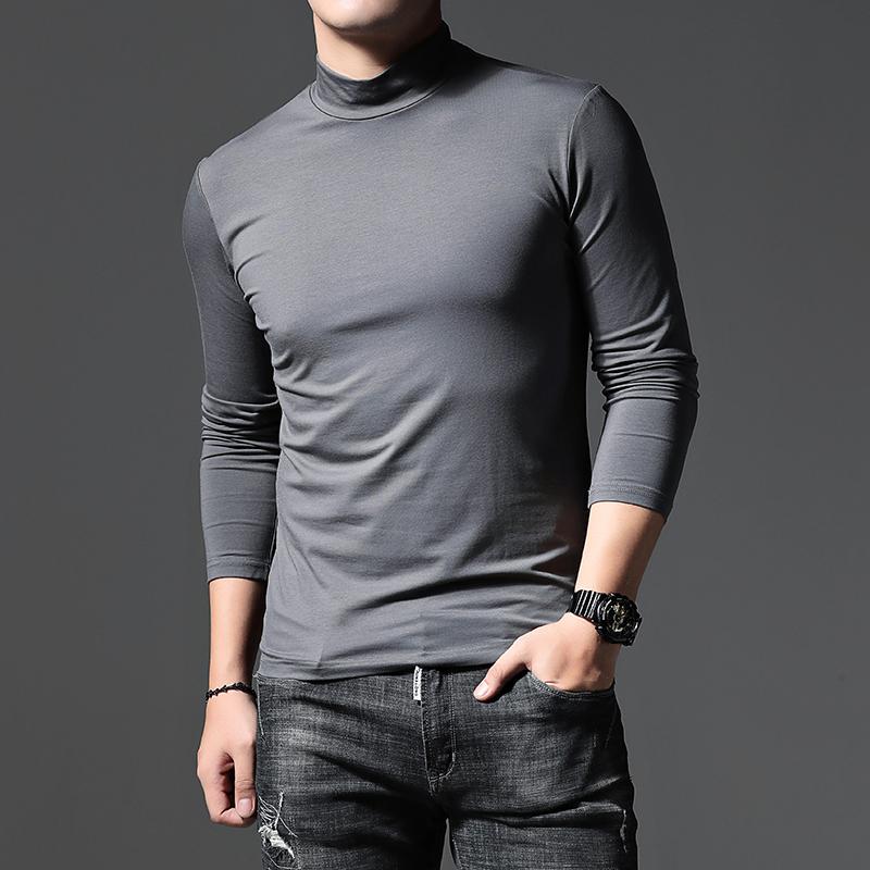秋冬丝光棉长袖T恤男 中高领加绒加厚打底衫韩版潮流纯色保暖上衣