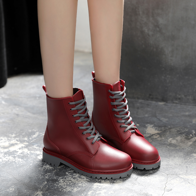 英倫風馬丁雨靴復古防水機車雨鞋女中筒防滑水鞋膠鞋秋鼕可加絨