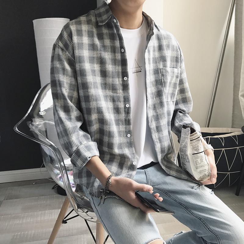 格子长袖衬衫男韩版休闲修身潮流帅气青少年学生寸衫港风男士衬衣