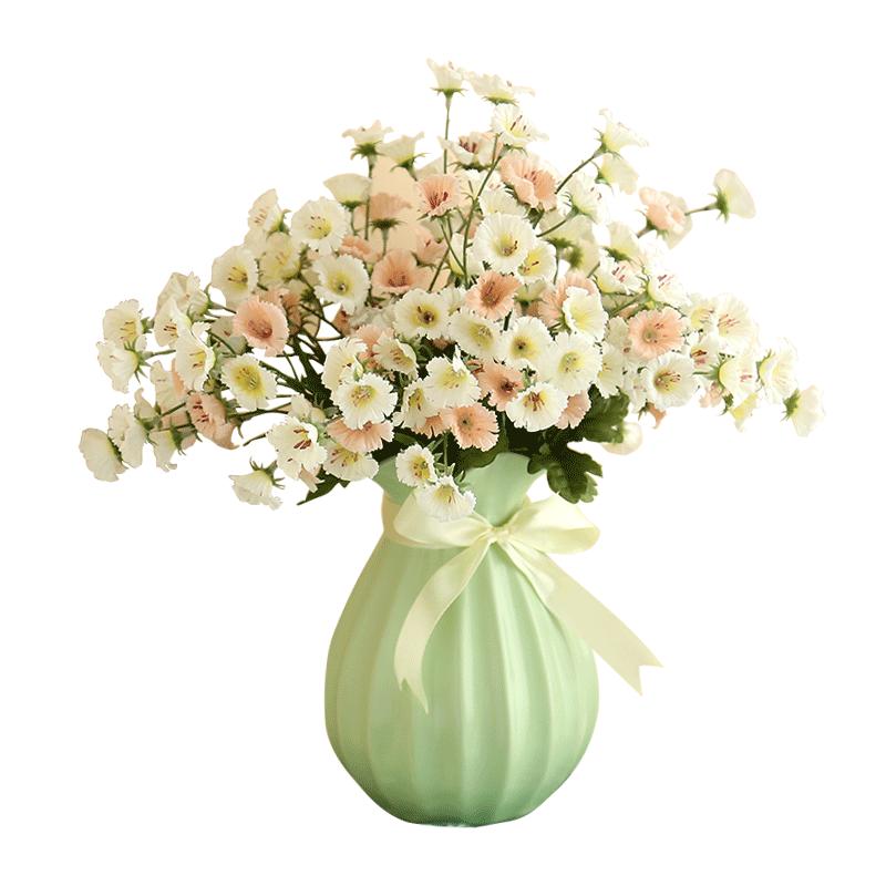 an简约家居客厅摆件磨砂陶瓷器麻绳丝带陶瓷花瓶插花小清新干花花