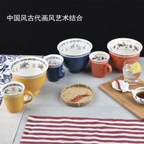 现货日本出口尾单复古中国风创意陶器餐具拉面碗大汤碗马克杯汤勺