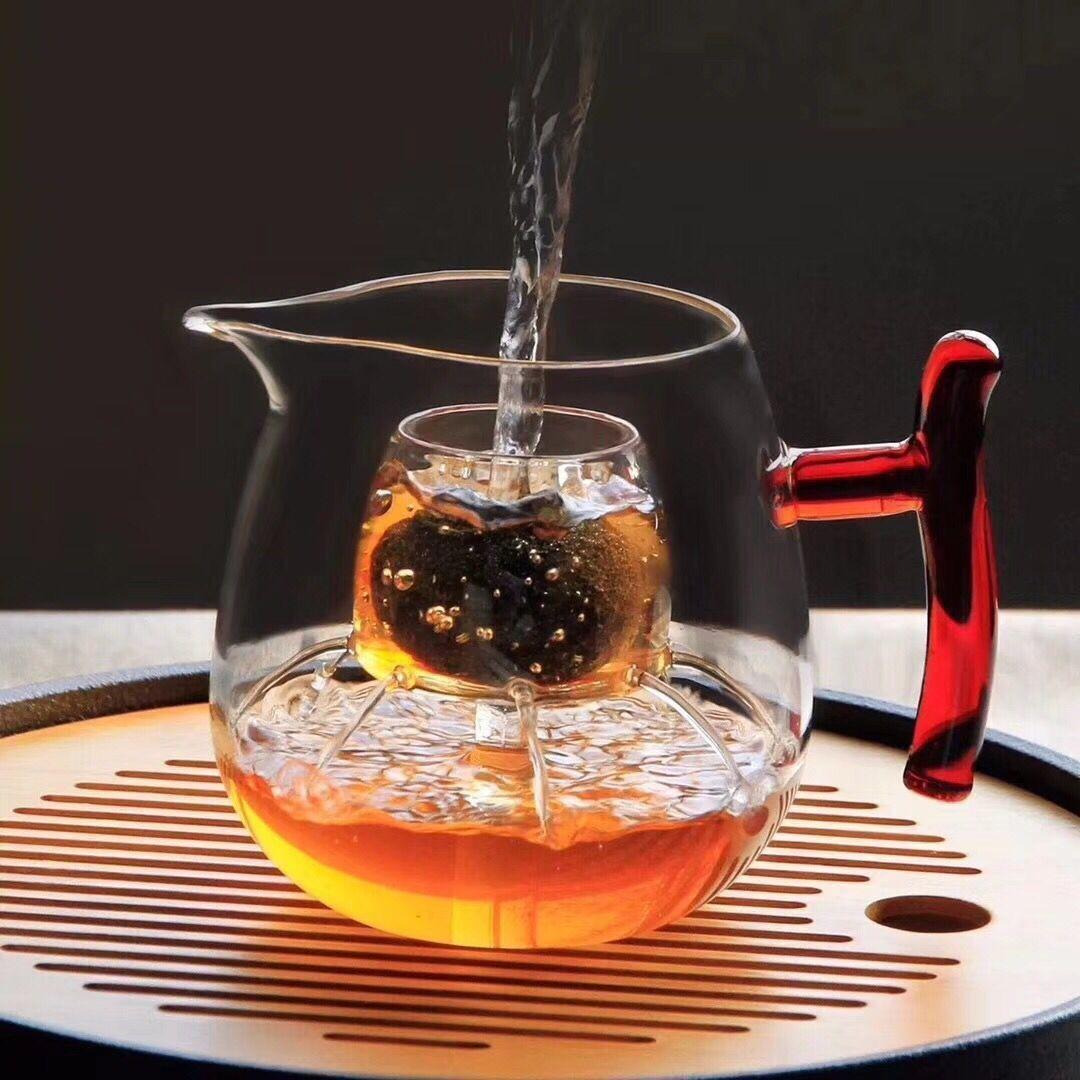 小青柑玻璃杯洒酒器分茶器煮茶壶花洒杯花茶杯迷你杯彩把尖嘴新品