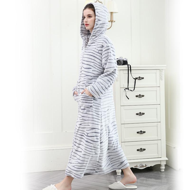 秋冬季加厚法兰绒情侣睡袍男女长款浴袍珊瑚绒浴衣修身大码家居服