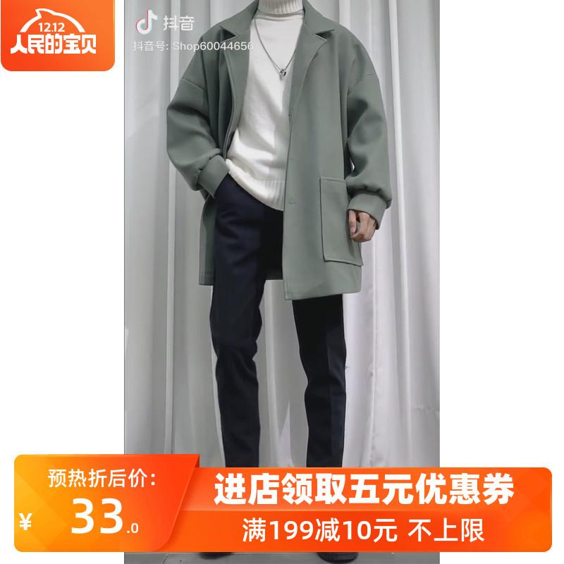 三件套男士毛呢大衣风衣外套呢子中长款冬季2019流行男装情侣韩版