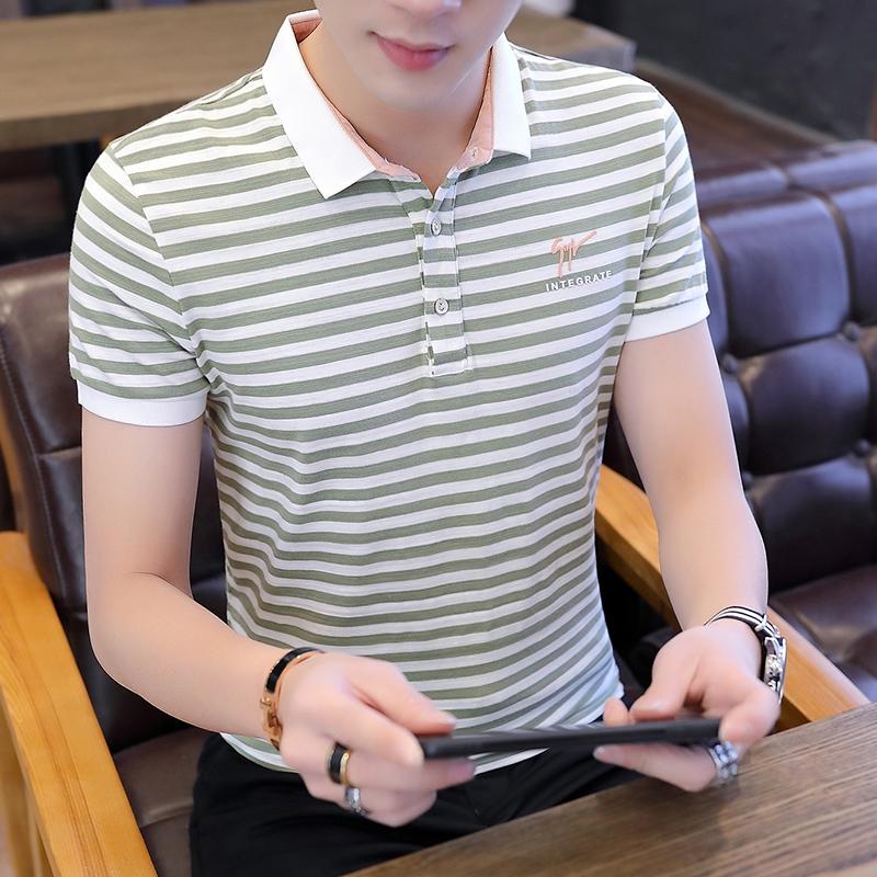 官网旗舰店夏季新款修身POLO衫翻领短袖t恤男士韩版有带领半截袖V