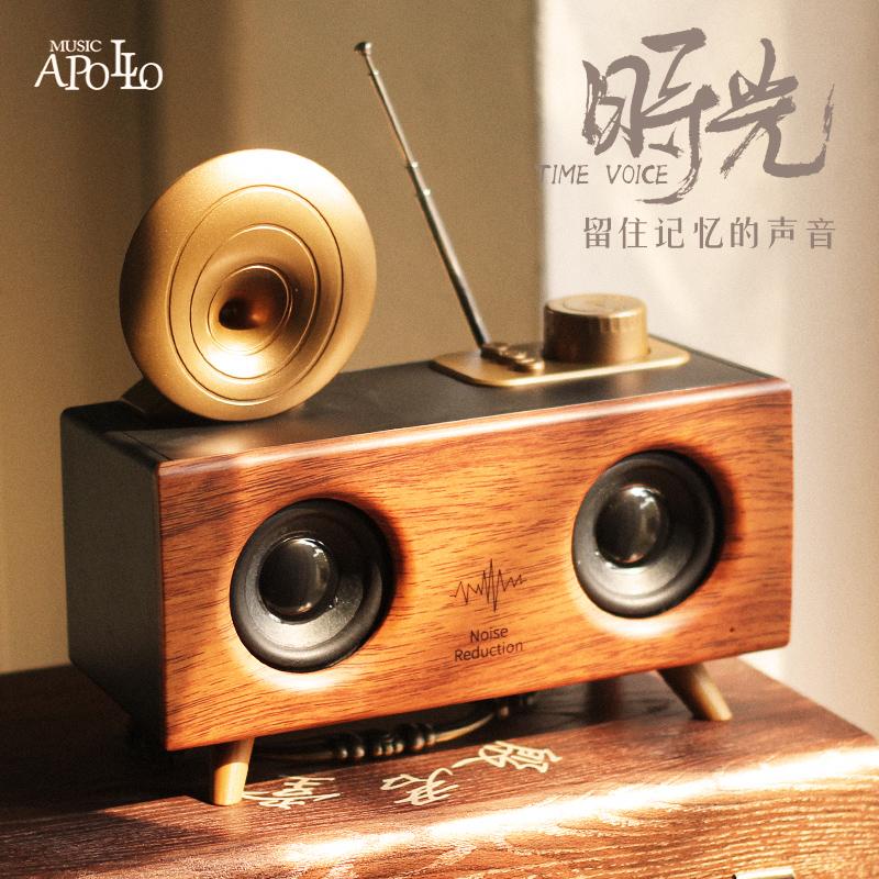 Music Apollo B6无线蓝牙音箱低音炮超大音量便携式户外收音机手机电脑插卡U盘3D环绕车载复古小音响