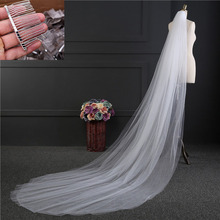 2021ji1款3米长an纱白色双层新娘主婚纱拖尾头纱头饰带发梳