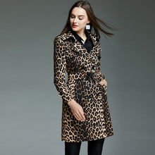 豹纹风衣女式双排扣213721春秋rc时尚收腰中长式外套显瘦2046