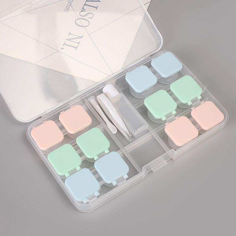 六副装简约隐形眼镜盒按压透明美瞳盒杯式大容量多护理伴侣双联盒