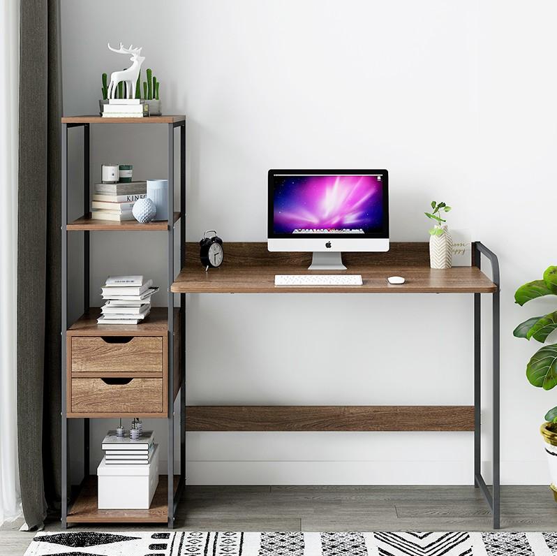 家用书桌带书架一体桌简约台式电脑桌小户型省空间转角学生写字桌