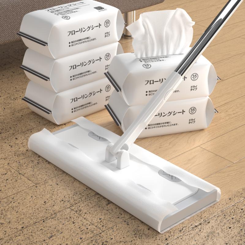 静电除尘纸拖把吸尘免洗拖把擦地干巾一次性拖布地板清洁拖地湿巾