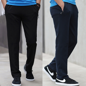Cotton sports trousers men's spring and autumn loose straight plus fat XL zipper casual guard pants fat fat guy clothing