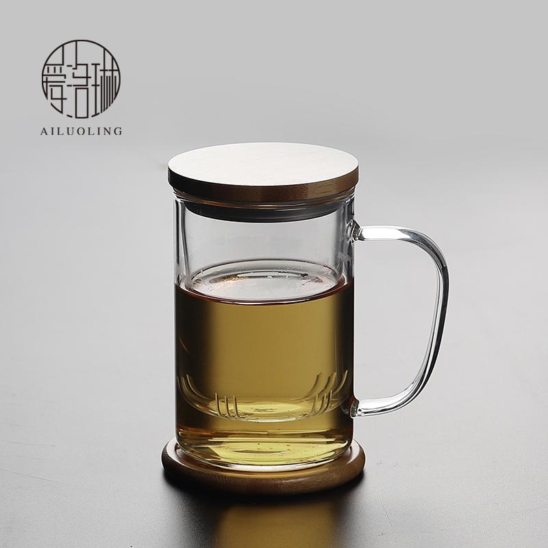 爱洛琳 耐热玻璃过滤泡茶杯 办公室透明茶水分离带把花茶杯水杯子