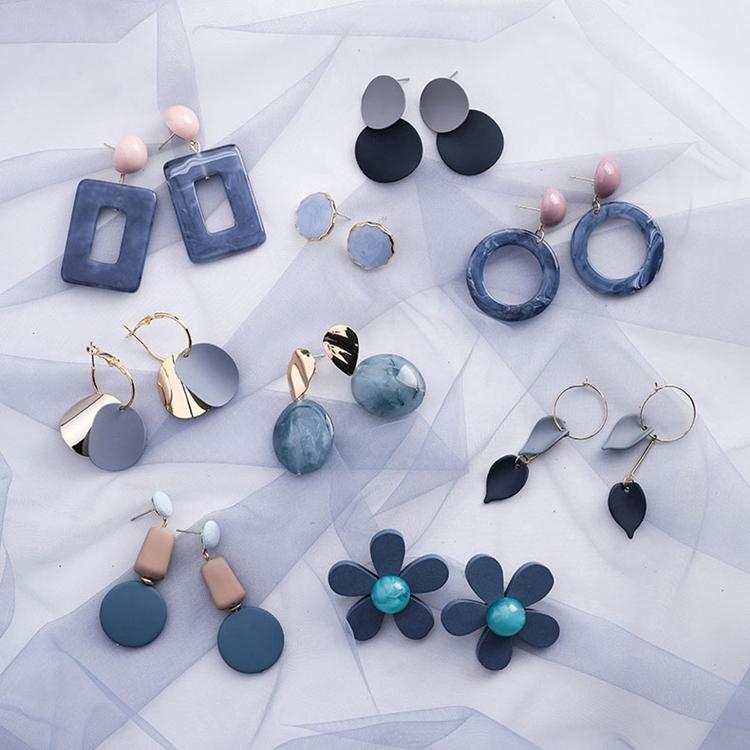 时尚雾霾蓝高级灰系耳环几何亚克力方块圆环耳坠气质网红简约耳饰