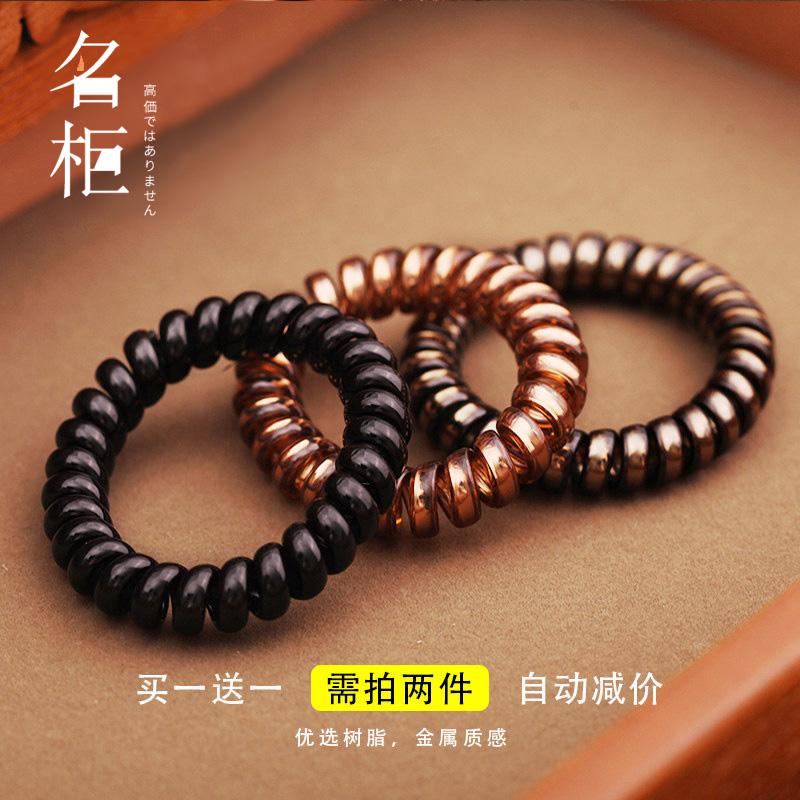 加粗电话线发圈女韩国扎头发头绳发绳橡皮筋黑色简约线圈皮套发饰