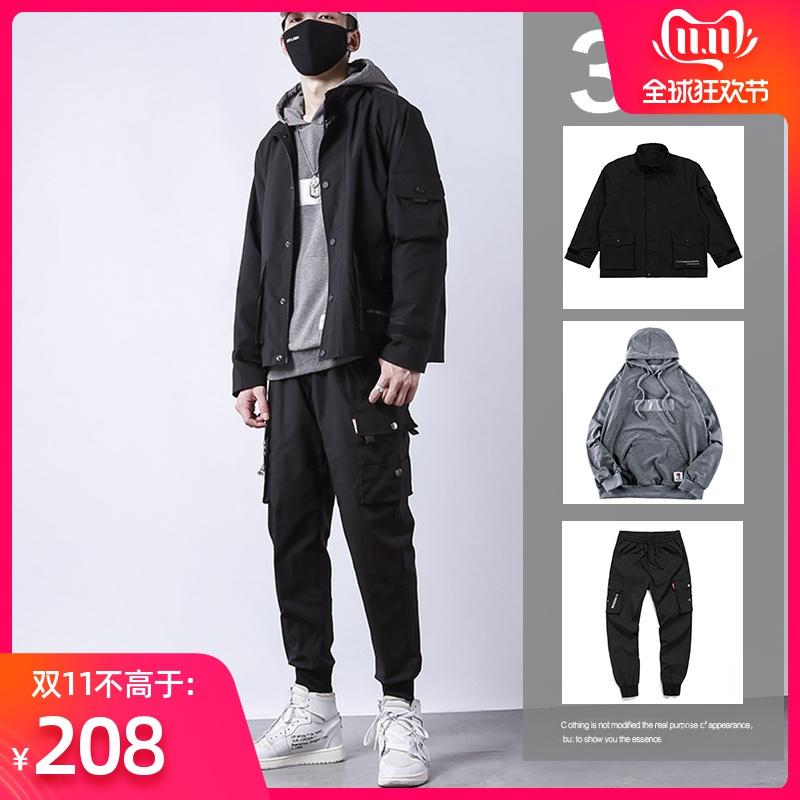 外套男秋冬韩版潮流衣服机能工装潮男装一套搭配帅气秋装套装夹克