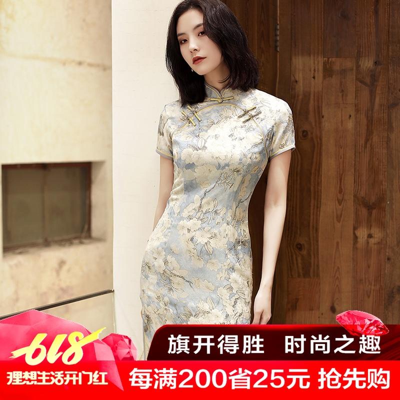 日常少女新式旗袍春夏丝绸演出服复古文艺改良年轻长款旗袍连衣裙