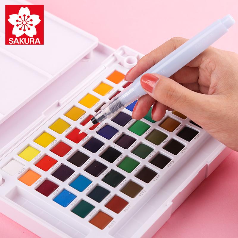 樱花固体水彩颜料24色36色48色美术专业固体水彩颜料套装初学者学生用手绘画笔水彩画工具日本樱花牌珠光水粉