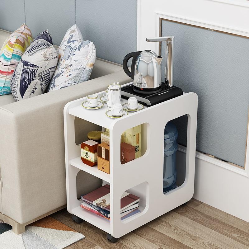 圆角茶几简约实木小户型沙发边几角几带轮多功能储物柜客厅茶水桌