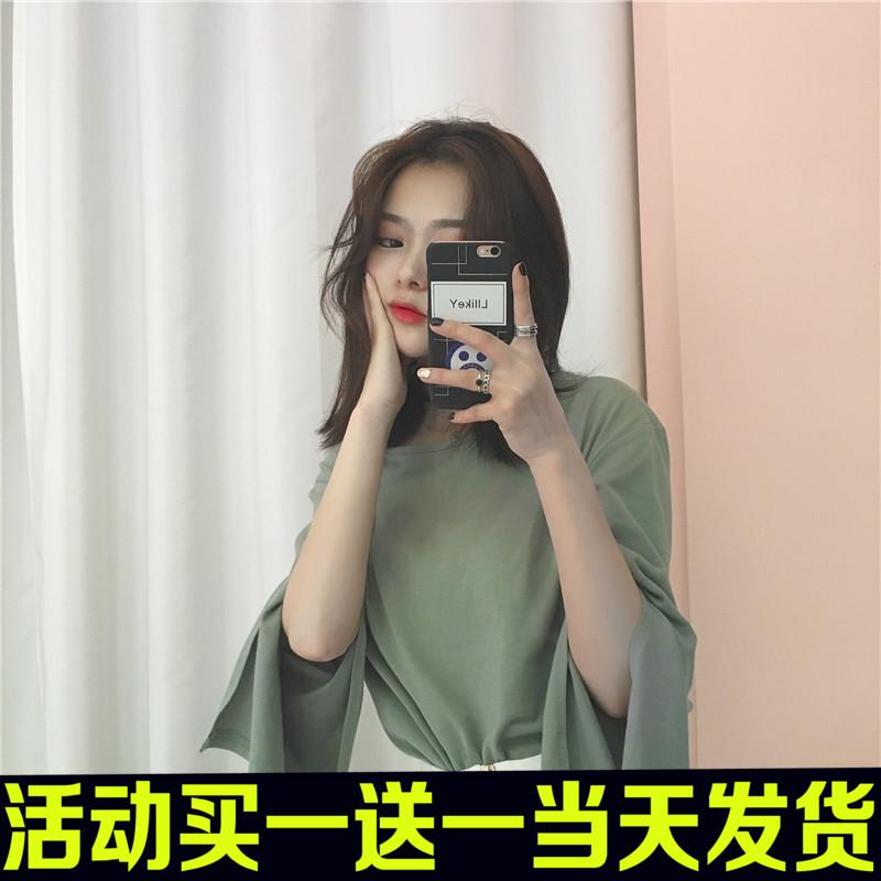 春秋新款女装韩版百搭纯色开叉大袖长袖T恤女学生原宿bf风上衣潮