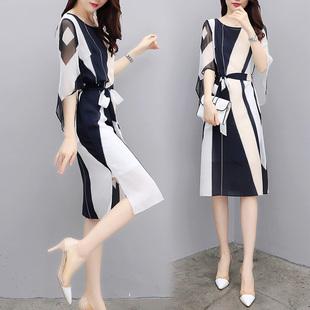 2018新款女装夏装修身收腰中长款连衣裙女雪纺喇叭袖中袖撞色裙潮