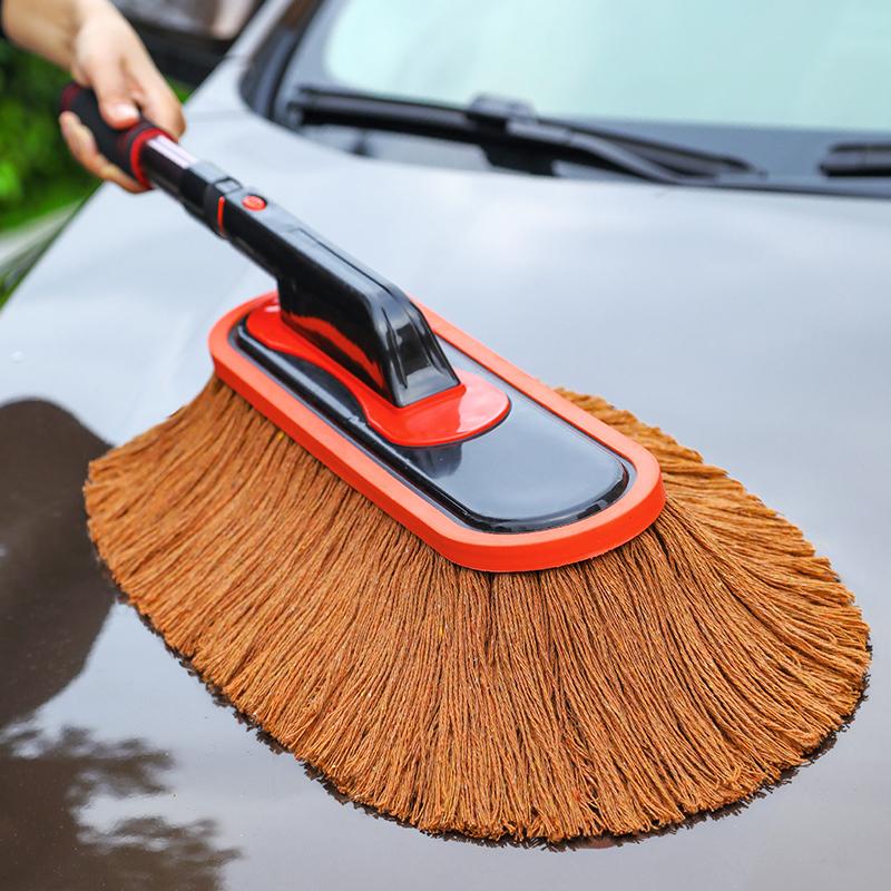 汽车掸子擦车拖把刷车扫灰除尘车用棉线伸缩蜡拖洗车刷子工具用品