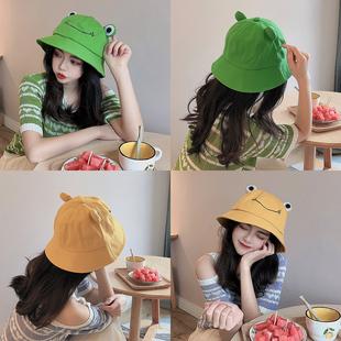 青蛙渔夫帽女卡通可爱休闲百搭日系学生韩版盆帽太阳帽装饰帽子女