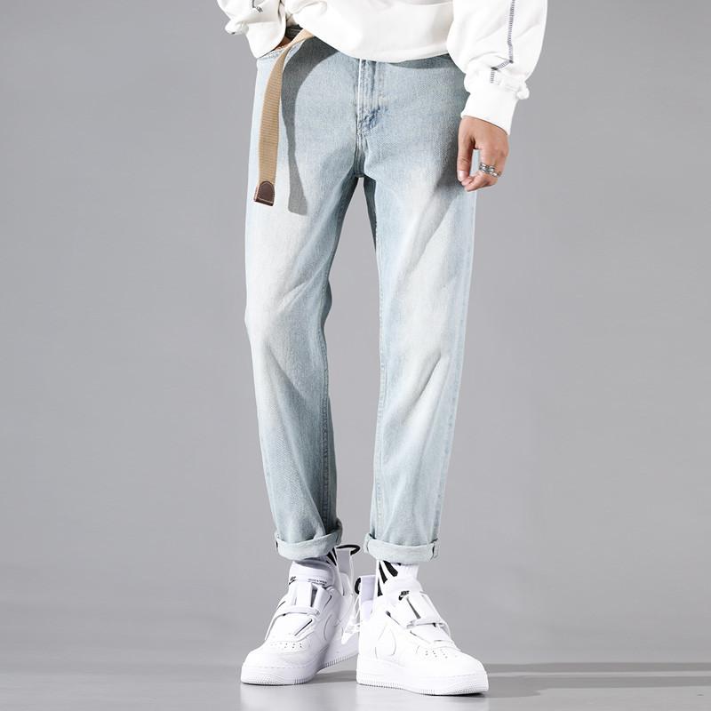 YOA新款牛仔裤男浅色宽松水洗直筒裤cec潮男韩版简约百搭小脚裤子