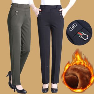 Mom pants plus velvet thick high-waist middle-aged and old women's pants middle-aged women's pants outer wear elderly winter cotton pants p25