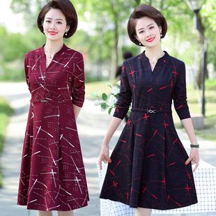中老年女装中长款连衣裙秋装打底衫长袖中年妈妈装宽松大码T洋气