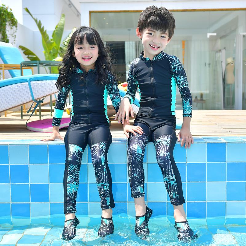 儿童泳衣女孩连体防晒长袖男童分体宝宝速干中大童水母衣潜水服游