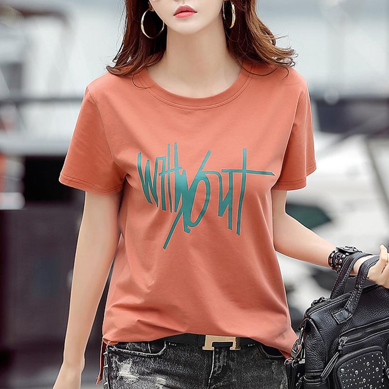 2020夏新款纯棉t恤女短袖宽松休闲夏季大码韩版体桖上衣女款洋气