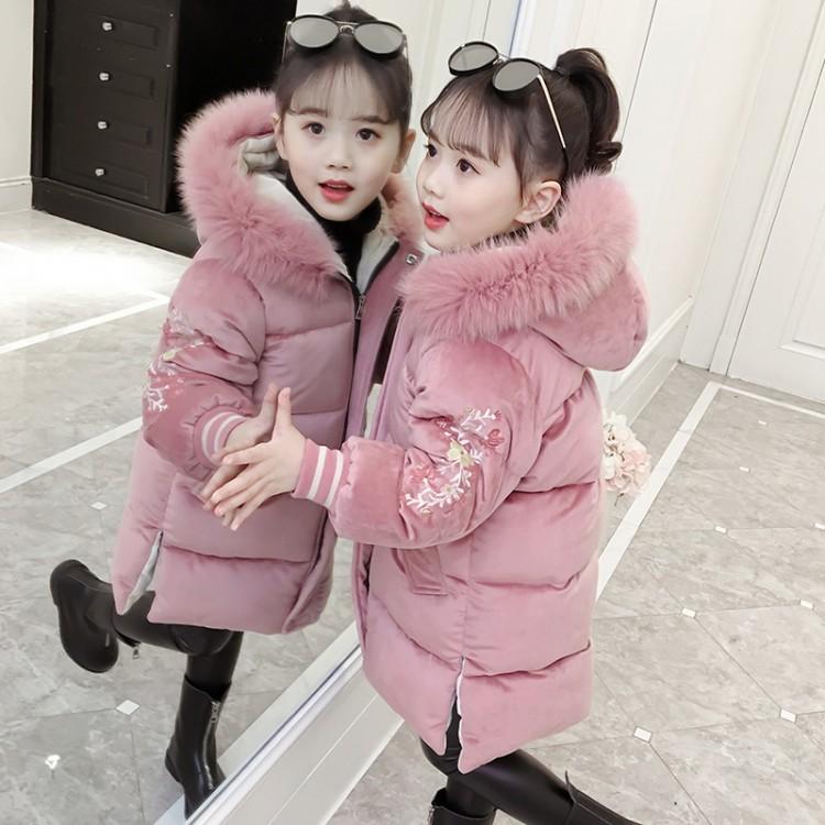 女童棉衣2019新款儿童冬装金丝绒棉服外套大童装洋气棉袄长款加厚