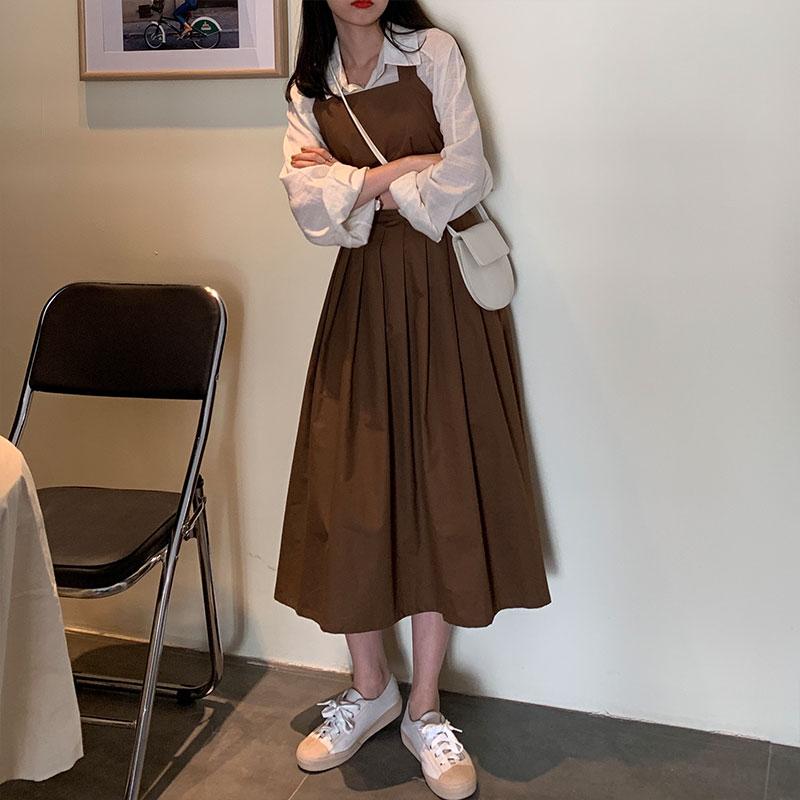 减龄背带裙女长款过膝吊带连衣裙修身显瘦学生韩版休闲百褶裙秋冬