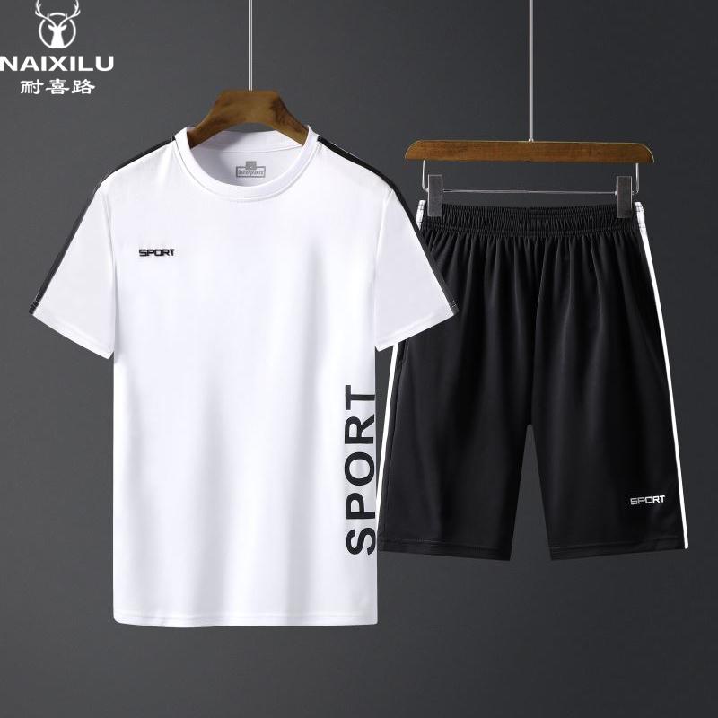 跑步健身速干衣运动套装男夏季2019新款短裤短袖T恤休闲两件套薄