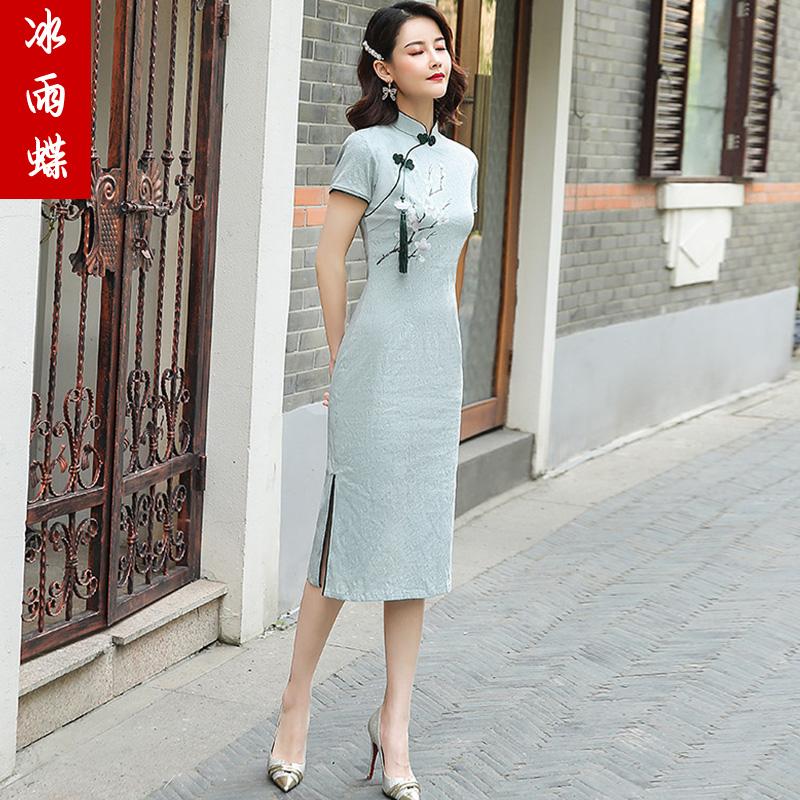 2020新年轻款少女中国风复古棉麻改良版新式旗袍连衣裙夏季中长款
