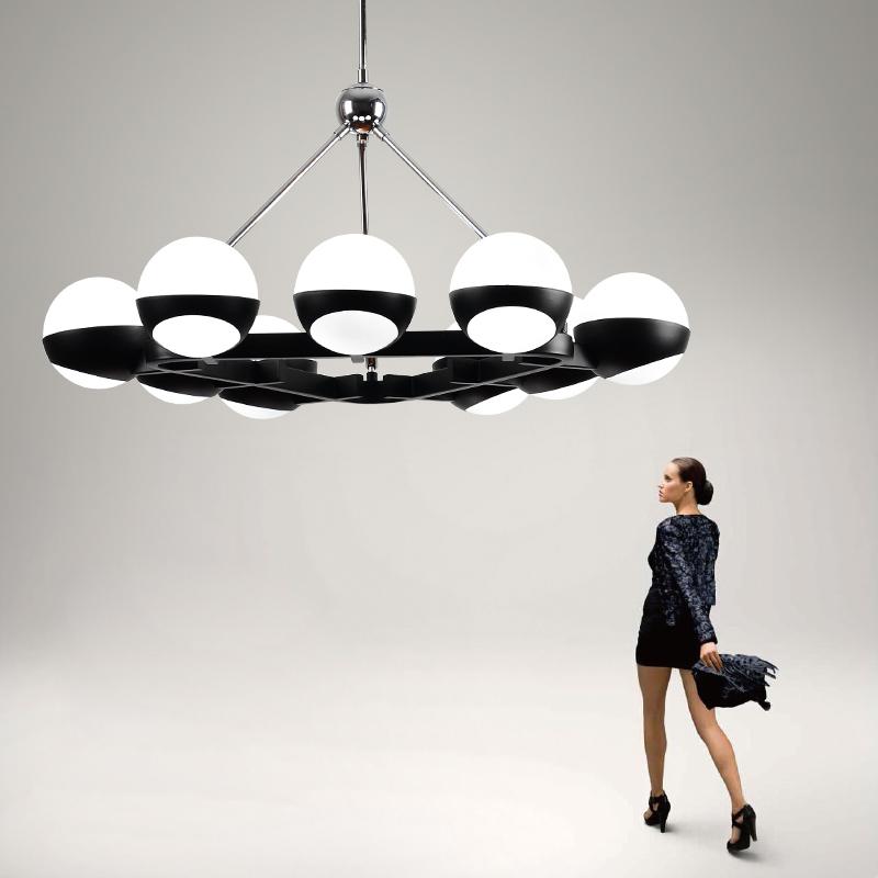 后现代分子玻璃圆球魔豆吊灯创意时尚办公室别墅客厅大气led吊灯-艺创灯饰城