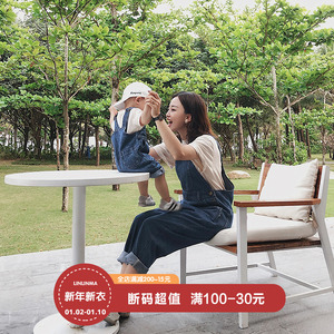 Linlin's baby clothes, net red Douyin, the same parent-child clothes, summer strap jeans, baby pants, jumpsuits