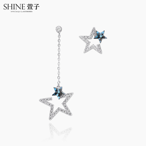 shine Xuanzi jewelry asymmetric earrings pentagram star pendant female temperament long Swarovski element earrings