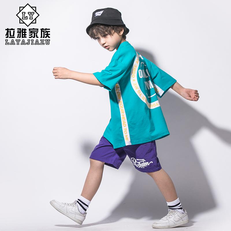 街舞套装男童夏季T恤宽松韩版中大童学生短袖男孩子衣服演出服潮
