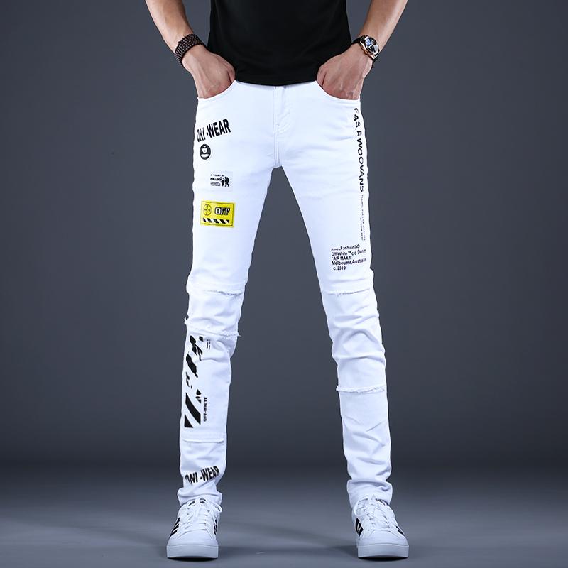 2020新款男士刺绣印花白色牛仔裤男潮牌修身小脚休闲裤子韩版潮流