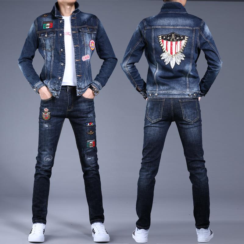 2020春秋季男士刺绣花牛仔衣男套装外套男装潮牌休闲潮流夹克上衣