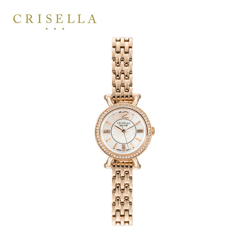 Crisella卡斯丽水晶镶嵌小表盘女士腕表 潮流金属表带手链石英表
