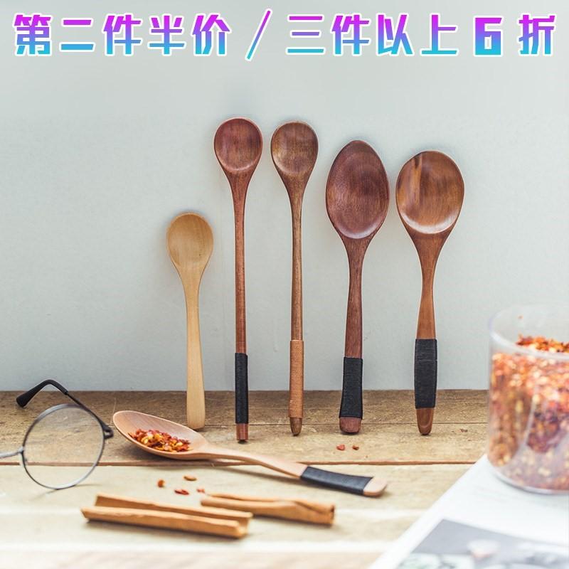 日本で小木勺子长柄韩式日式家用吃饭用韩国木头木质大复古创意个