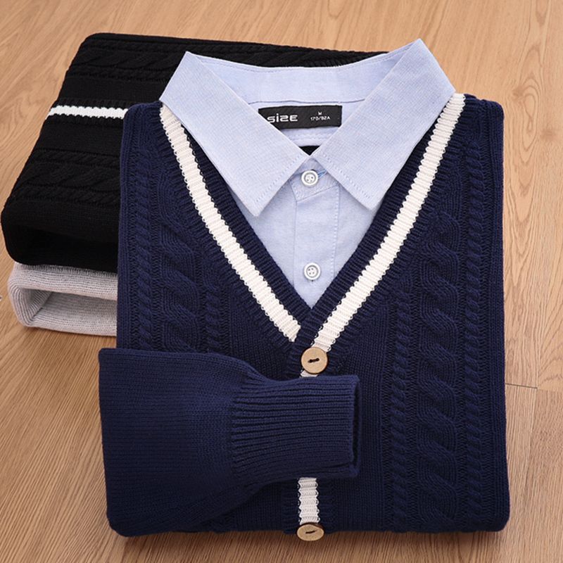秋冬季假两件男毛衣潮流衬衫领上衣外套加绒加厚针织衫男开衫外穿