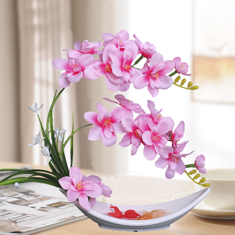 蝴蝶兰仿真花套装假花娟花干花陶瓷花瓶客厅餐桌摆件装饰装饰花艺