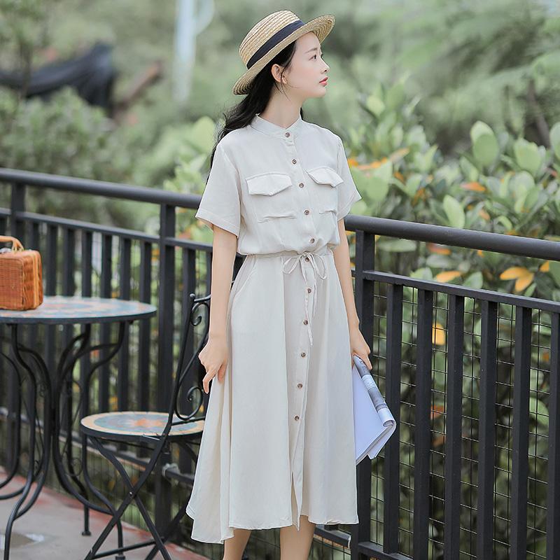 夏季 新款 清新 连衣裙 少女 学生 过膝 文艺 复古 衬衫 裙子